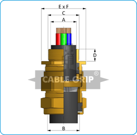 E1W Cable Glands - Drawing